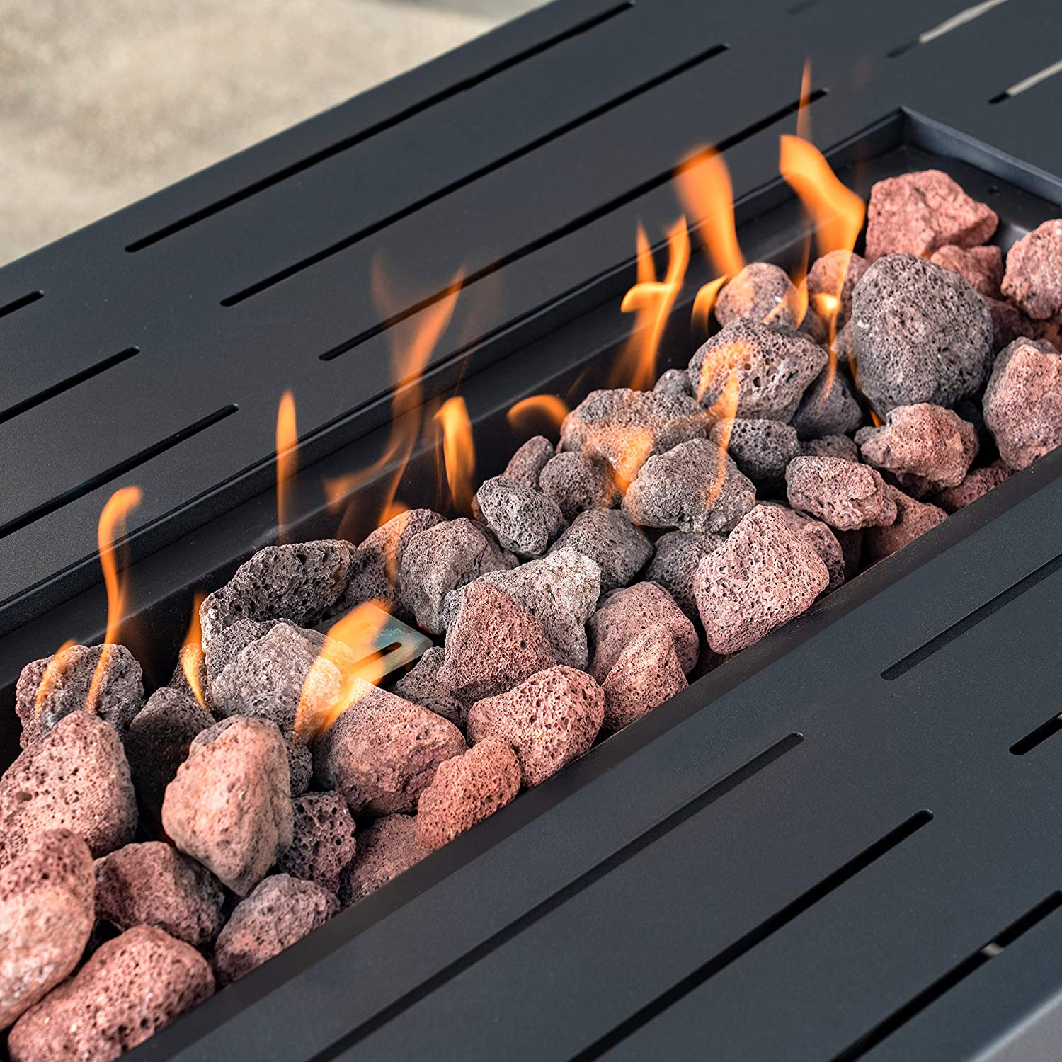 42-inch Rectangular Outdoor Propane Fire Pit Table Gray Steel Slats with 50,000 BTU Stainless Steel Burner Patio Heater with Lava Rocks and Table Insert