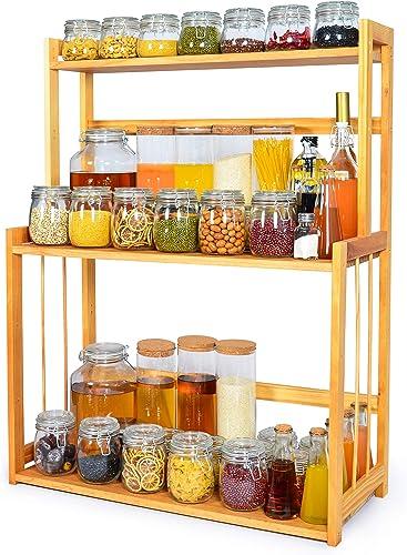 3-Tier Spice Rack Kitchen Bathroom Countertop Storage Organizer Rack, Bamboo Spice Bottle Jars Rack Holder with Adjustable Shelf,100 Natrual Bamboo