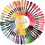 Embroidery Floss 50 Skeins Rainbow Color Cross Stitch Floss with Free Embroidery Needles and Plastic Card Board