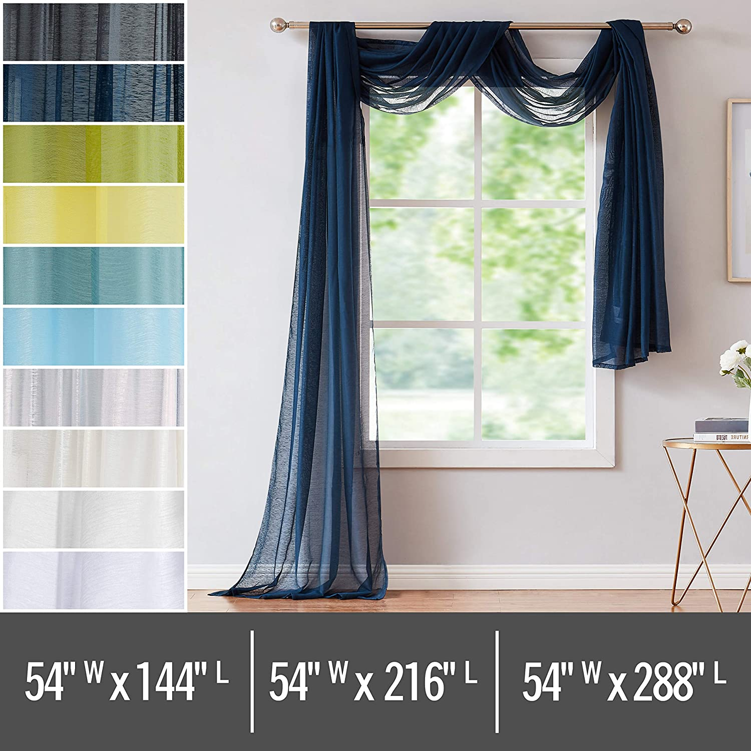 Red Co. Semi Sheer Navy Window Scarf, 54 by 144 Inches Long, Decorative Curtain Accent Window Valance