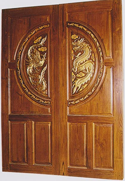 Modern Custom Carving Solid Teak Wood Interior Exterior Entry