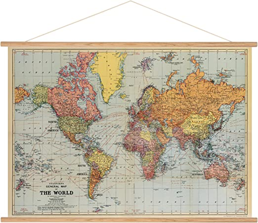 Vintage World Map Poster Cavallini Papers & Co Cavallini Vintage World Map Hanging Poster