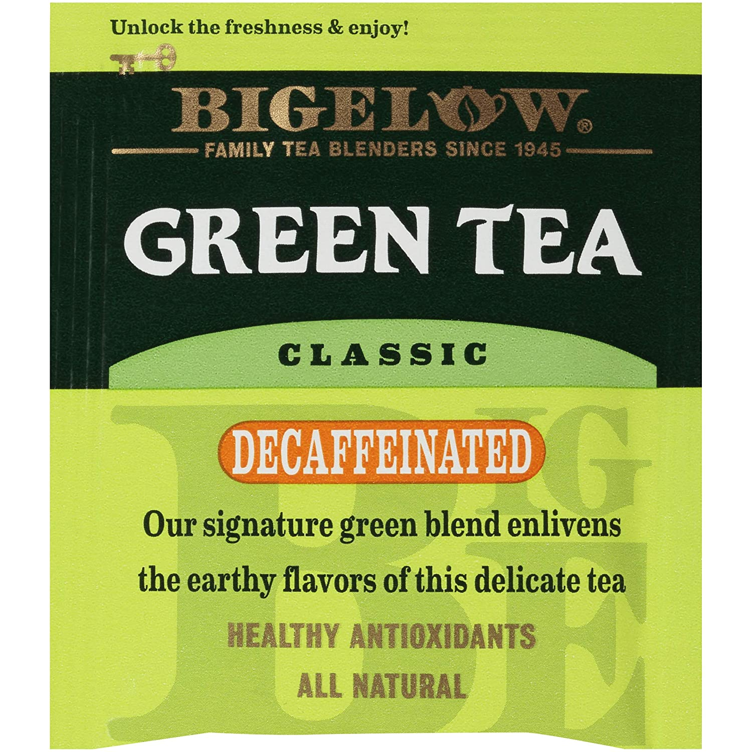 Bigelow Decaffeinated Green Tea Bags, 20 Count Box (Pack of 6) Decaf Green Tea, 120 Tea Bags Total