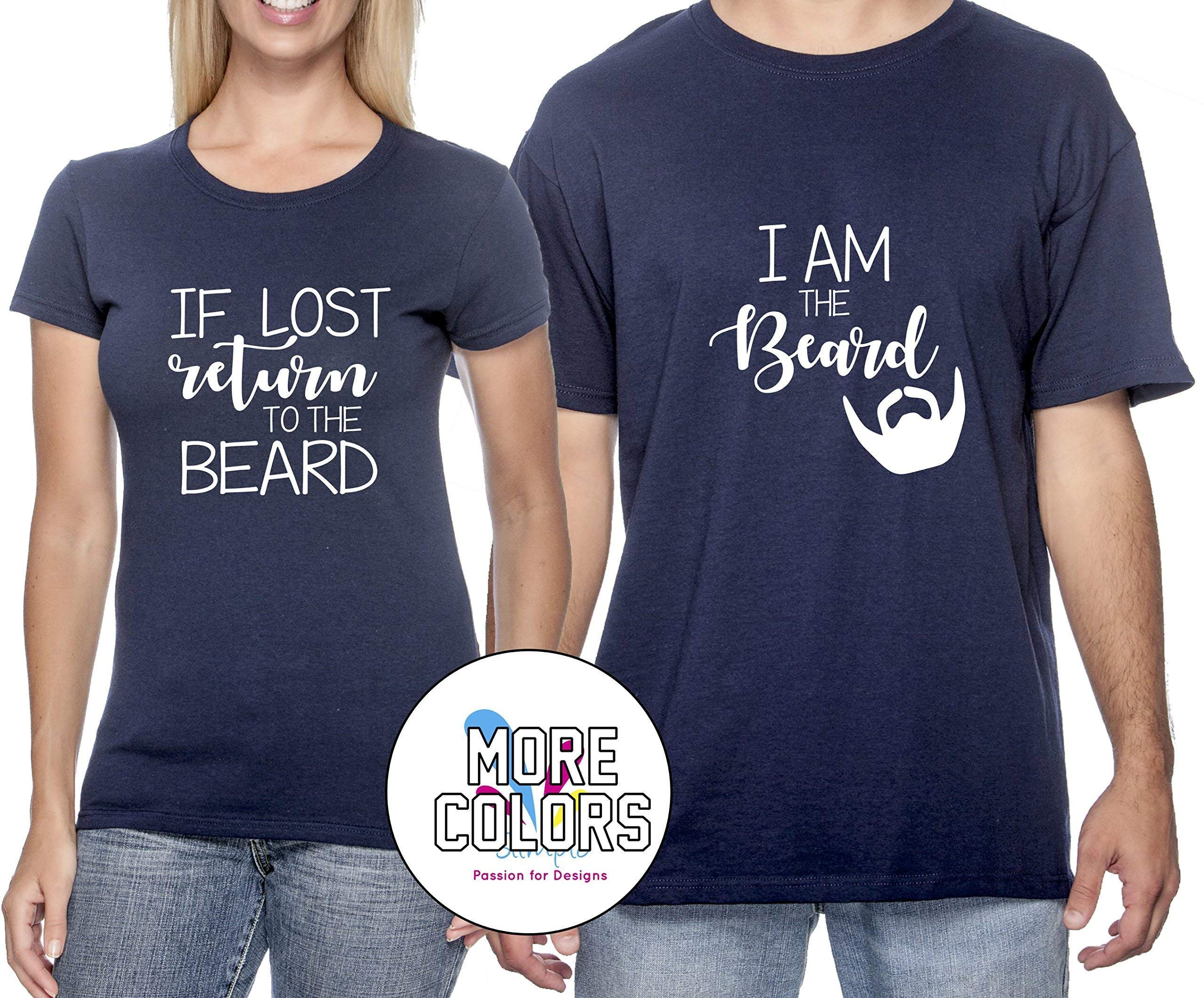If Lost Please Return to the Beard Couple T Shirt - Funny Matching Couples T-Shirts - Graphic Tees TShirt Humor Shirt -HoneyMoon