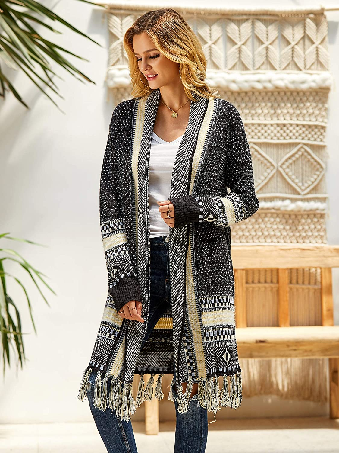 1920s Shawls, Scarves and Evening Jacket Tips Misassy Womens Boho Open Front Long Cardigans Sweater Loose Long Sleeve Aztec Embroidery Tassels Kimono Duster Outwear $37.88 AT vintagedancer.com