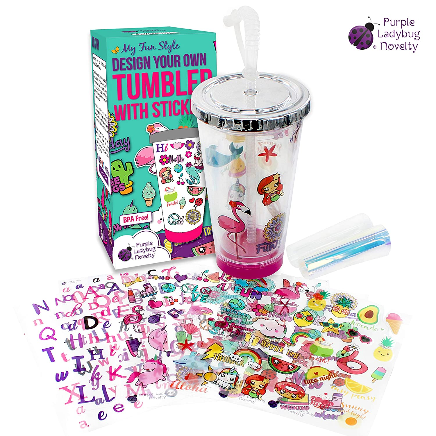 Create Your Own Personalized Tumbler for Girls with Waterproof Tumbler Stickers  Insulated Kids Tumbler with Lid and Straw   Makes a Great Gift for Gift  Fun DIY Art and Craft Kit for Children