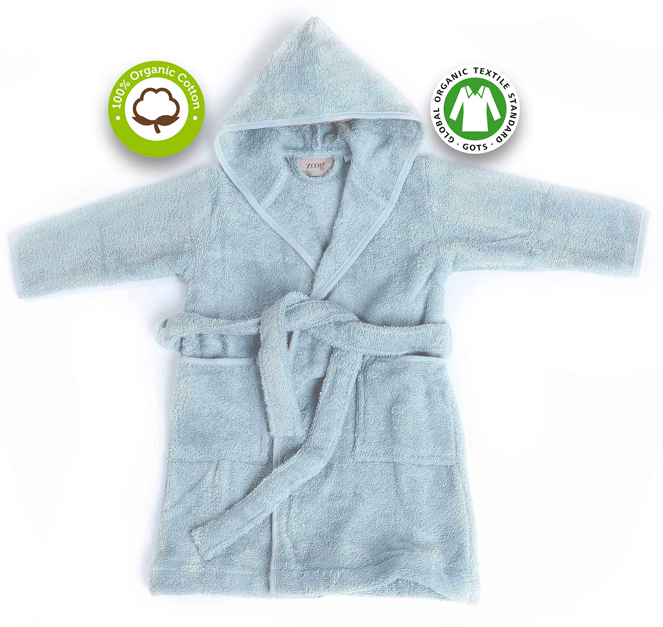 Zoog Organic Cotton Hooded Baby Bath Robe Natural Dye Premium Quality GOTS Certified Non-Chemical Non-Toxic 100% Vegan Soft Comfortable Blue (2-3 Years, Blue) by Zoog