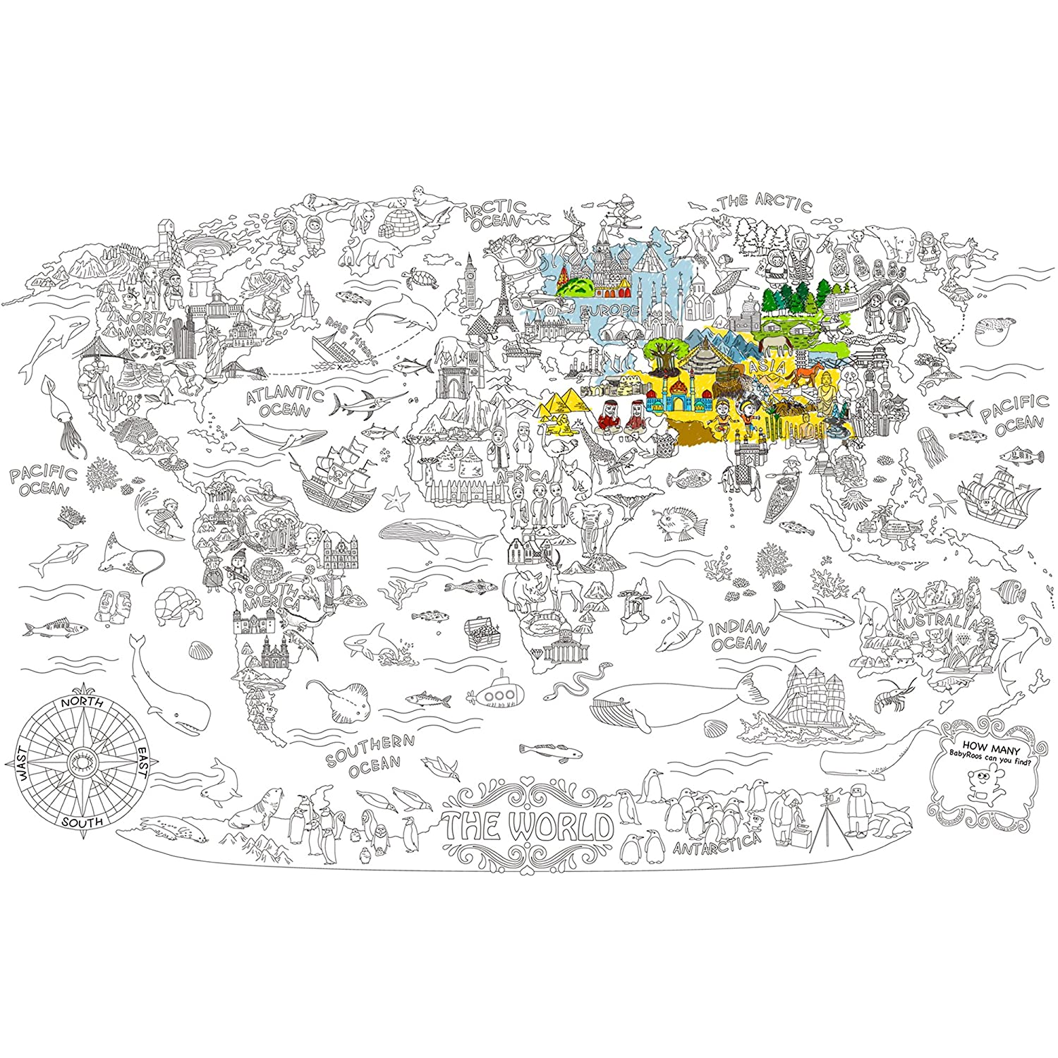 Amazon.com: Jar Melo Super Painter;Giant Coloring Poster; The World ...