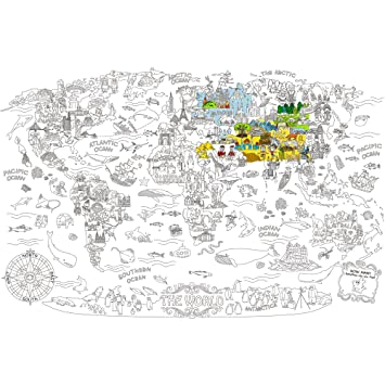 Jar Melo Super Painter;Giant Coloring Poster; The World; Doodle Art for  Children; 45.3\