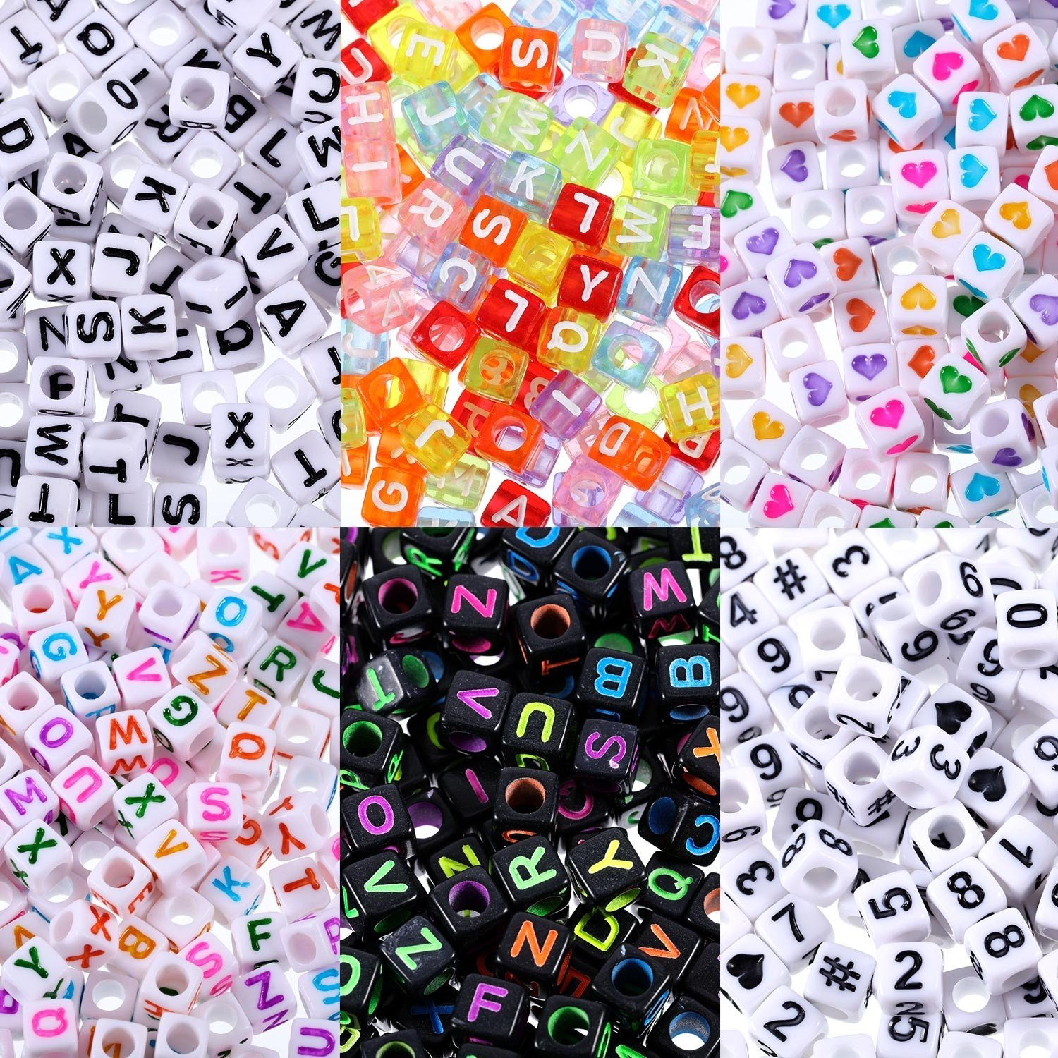 1200 Pieces 6 mm Plastic Mixed Color Alphabet Letter Beads, Number and Heart Cube Beads for DIY Jewelry Making, Necklaces, Craft Project, Bracelets, Key Chains and Kids Jewelry Chengu