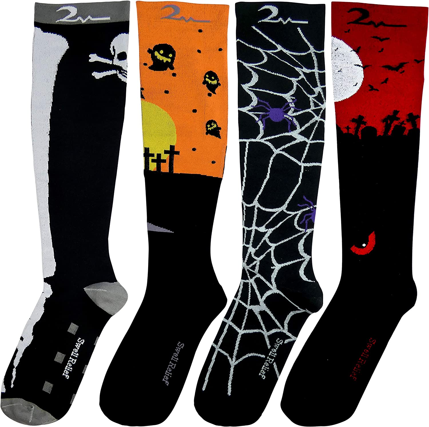 Romantic Heart Designs 4 Pair LargeX-Large Extra Soft Premium Quality Colorful Moderate Graduated Compression Socks 15-20 mmHg