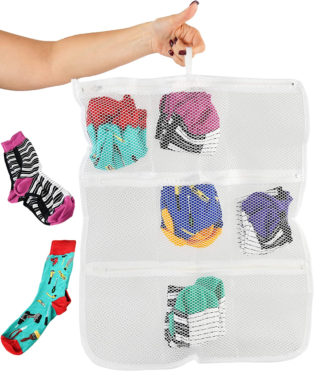Home-X Heavy-Duty Laundry Sorter Bag, Clothing Organizer for Socks and Delicates