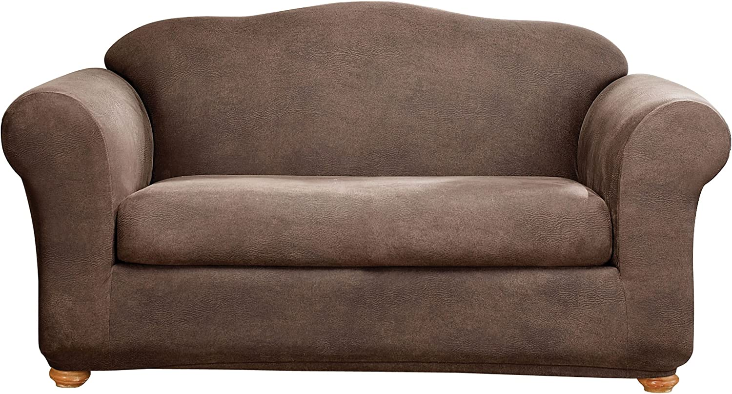Sure Fit Home Décor Stretch Leather Box Cushion Sofa Two Piece Slipcover, Form Fit, Polyester/Spandex, Machine Washable, Brown Color