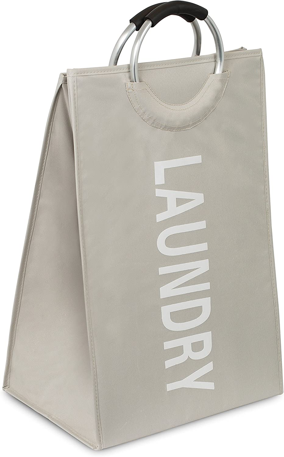 BIRDROCK HOME Oxford Laundry Bag - Clothes Storage - Sewn-in Frame - College Student Laundry Bin - Foldable - Cream