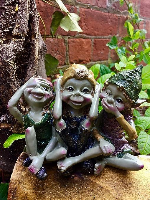 Tres Wise Pixies figura decorativa de jardín adorno diseñado por Anthony Fisher: Amazon.es: Jardín