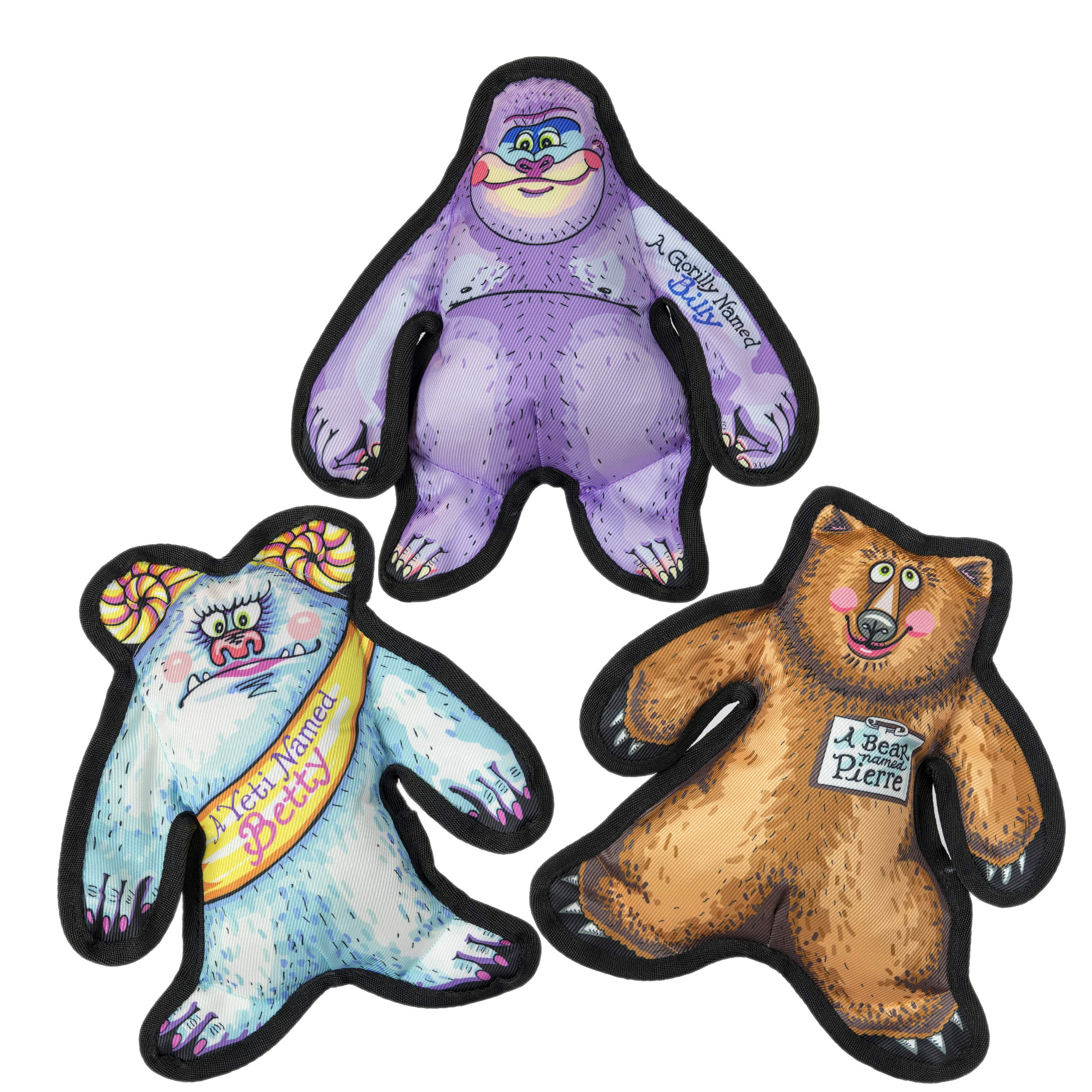 FUZZU Wild Woodies Dog Toys with Squeaker Collection - Small to Large Dog (12'') - Set of 3: A Yeti Named Better, A Bear Named Pierre and A Gorilly Named Billy by FUZZU