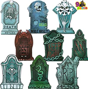 JOYIN Halloween Tombstone Yard Decorations(Pack of 9), 17