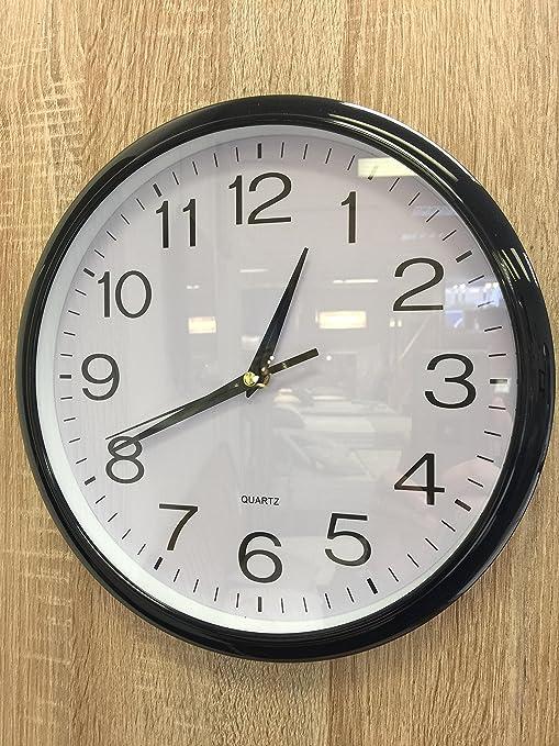 Reloj de pared silencioso (sin tic-tac) de cuarzo, color negro - perfecto como reloj de cocina ...