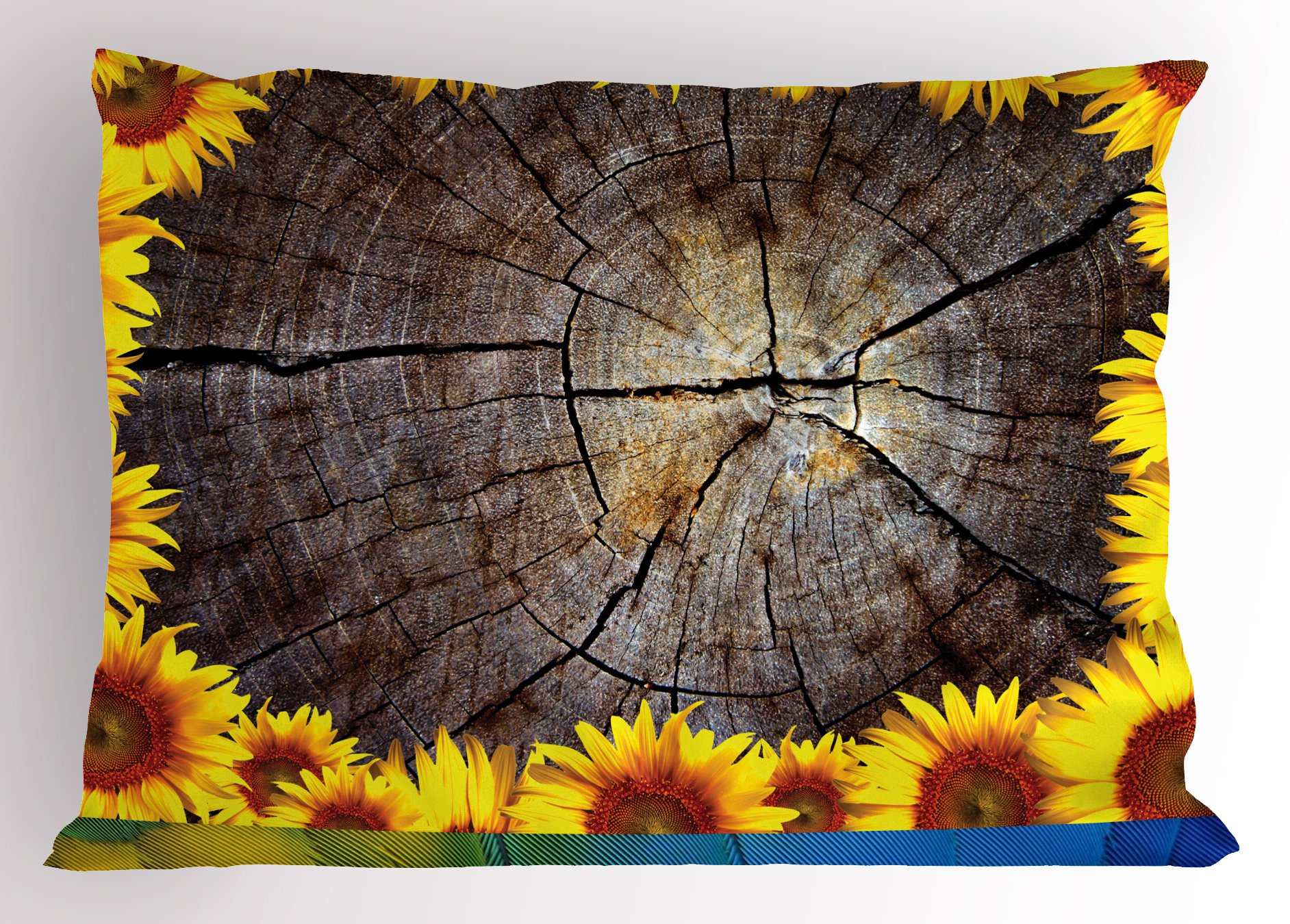 Lunarable Sunflower Pillow Sham, Cut Section Wood Stump with Sunflowers Seeds Tree Trunk Rustic Ornamental, Decorative Standard King Size Printed Pillowcase, 36 X 20 inches, Seal Brown Yellow