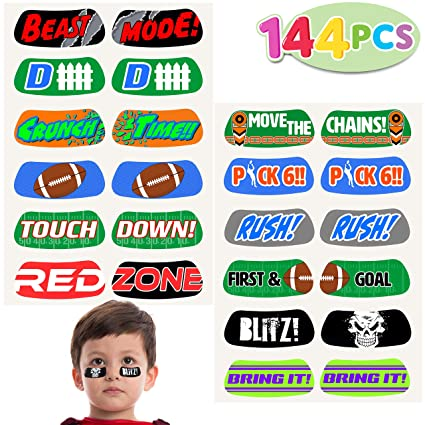 144 Football Face Tattoos; 12 Temporary Tattoo Sticker Designs; for  Football Birthday Party Supplies, Sports Party Favors, School Classroom  Football ...