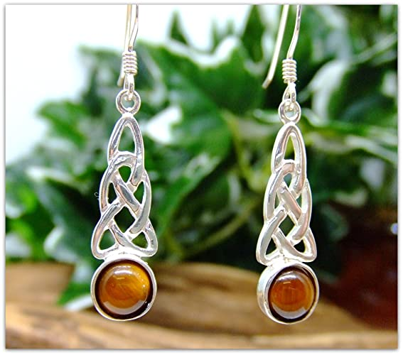 60d9adcd9 Celtic Tigers Eye Sterling Silver Drop Earring Set Gemstone birthday gift  for her mother gift bridesmaid Christmas: Amazon.co.uk: Handmade