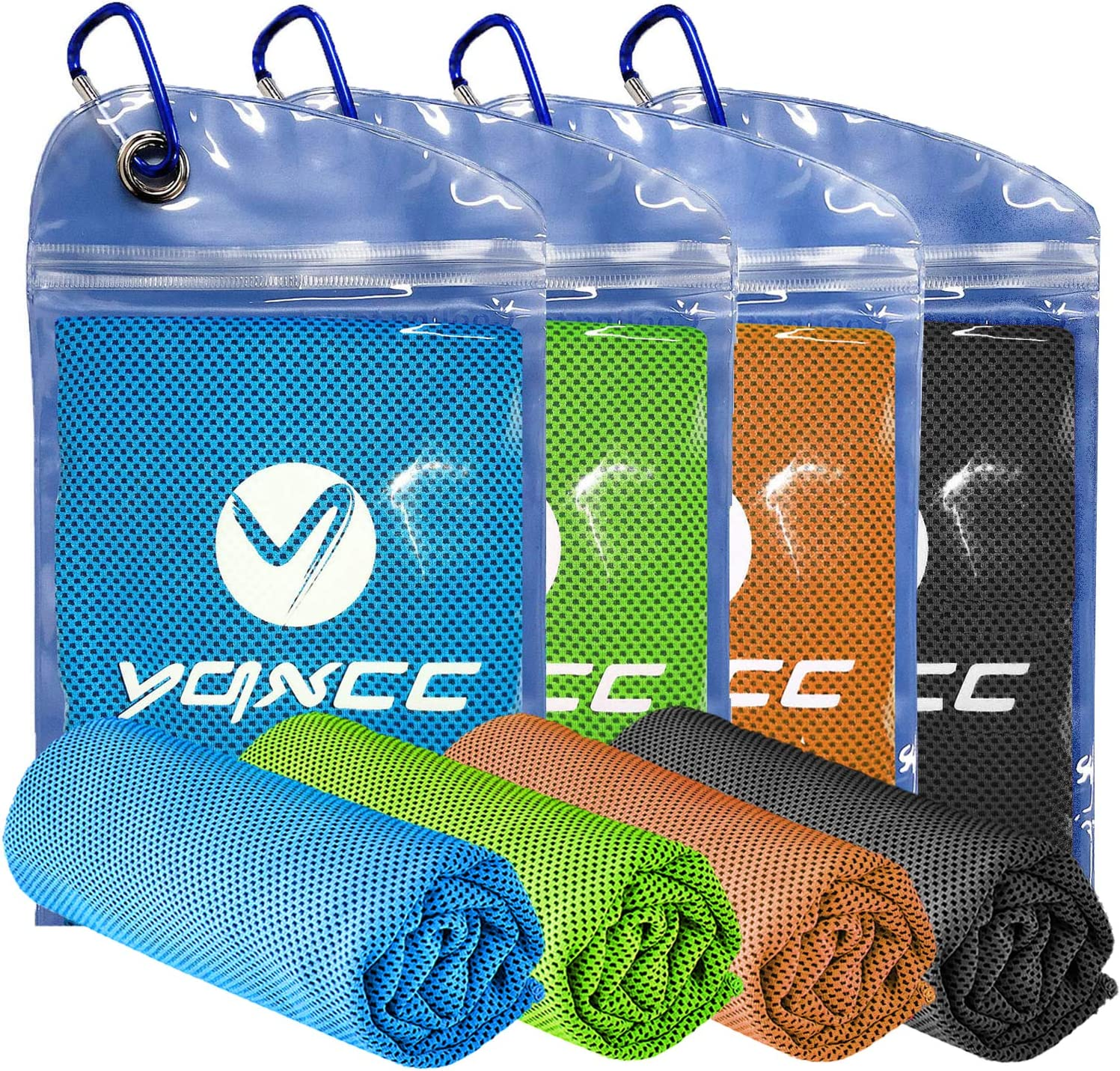 """YQXCC Cooling Towel 4 Packs (47""""x12"""") Microfiber Towel Yoga Towel for Men or Women Ice Cold Towels for Yoga Gym Travel Camping Golf Football & Outdoor Sports (Light Blue/Dark Gray/Orange/Green)"""