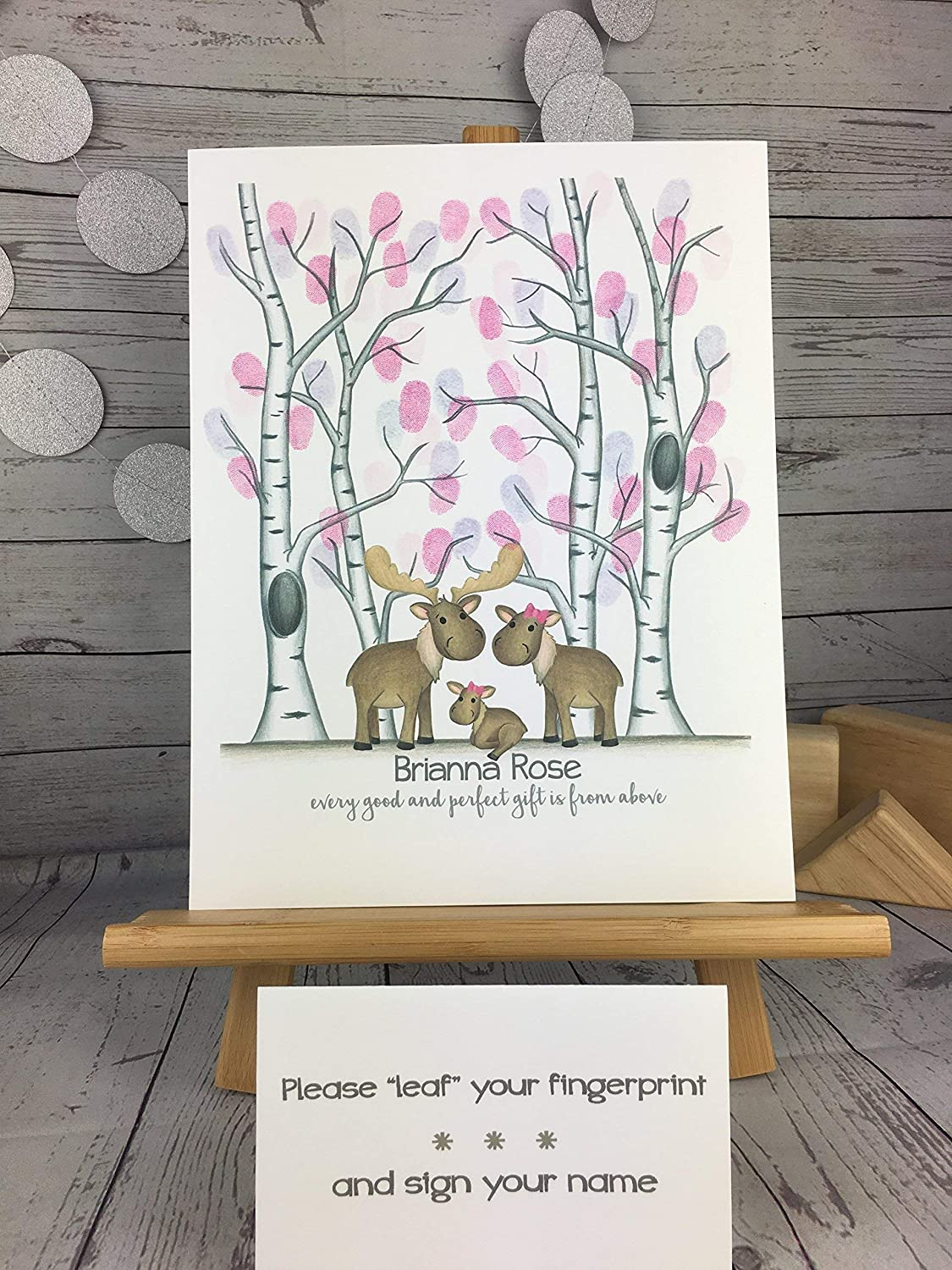 Customizable woodland animal fingerprint tree guest sign in featuring a moose family and a birch tree forest for a girls woodland animal themed baby shower