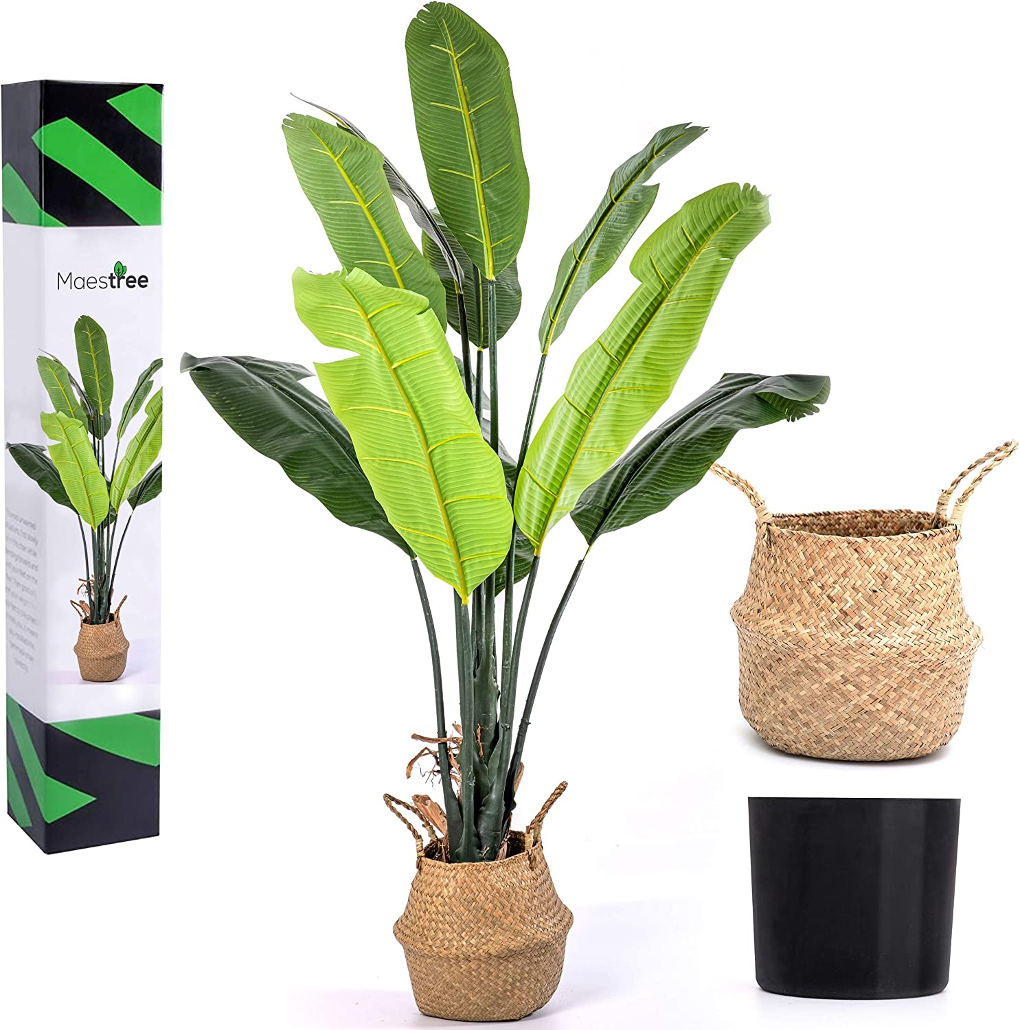 Maestree Faux Bird of Paradise Tree Artificial Plant – 6 Feet Tall Fake Plant with Adjustable Foliage – Fake Tree for Outdoor and Indoor Plants Decor at Home or Office - Seagrass Basket Included