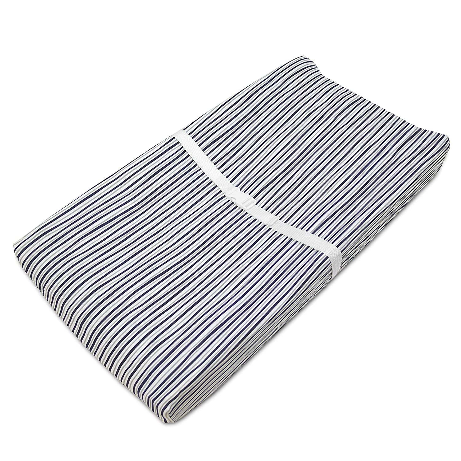 TL Care Printed 100% Cotton Jersey Knit Fitted Contoured Changing Table Pad Cover, Funny Navy Stripes 3555 FS