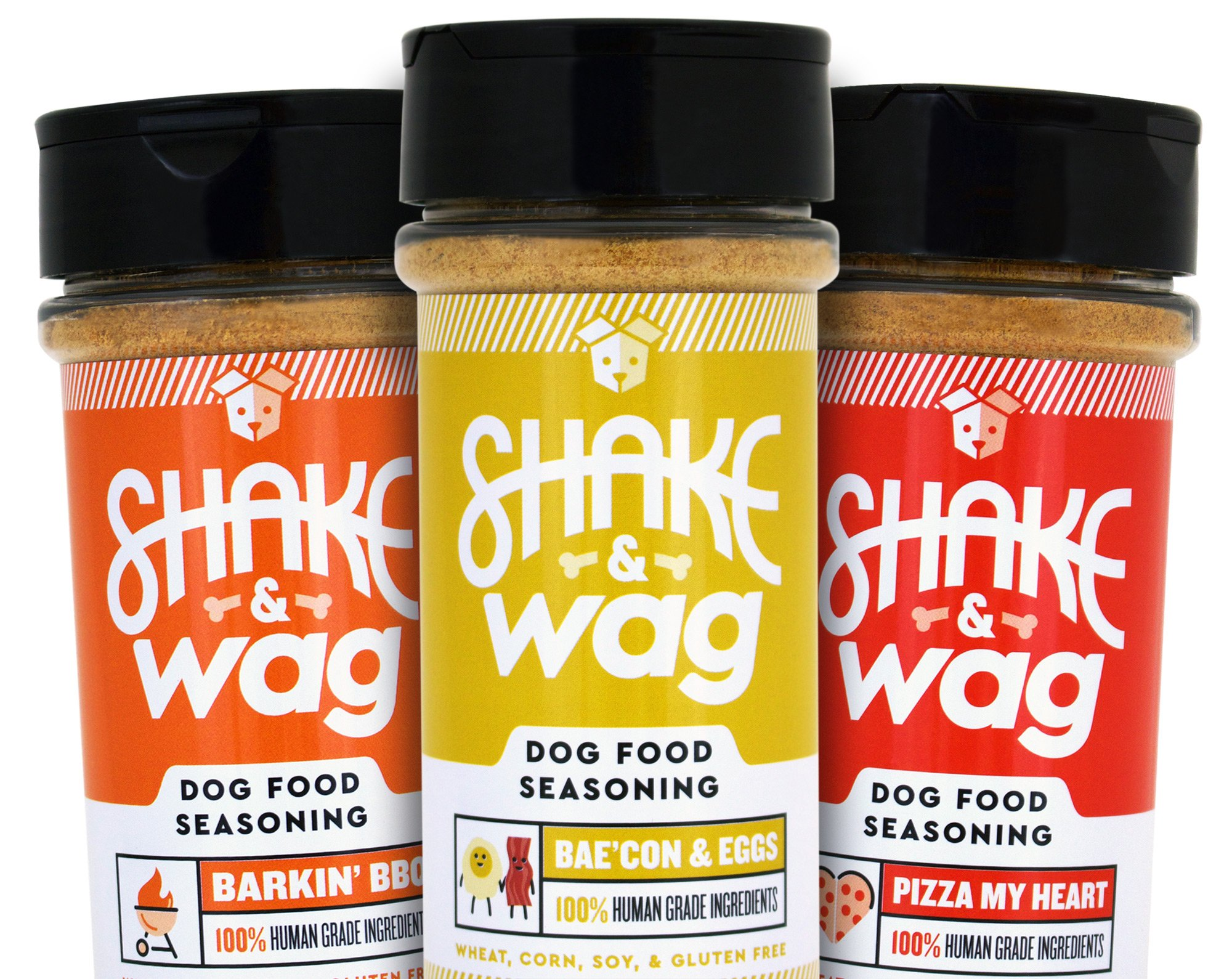 Shake & Wag Dog Food Seasoning Powder - Human Grade, Gluten Free Topper, Flavor Enhancer, and Gravy For Dog Food - USA Made (3 Bottle Set - Bacon/Eggs, BBQ, Pizza)