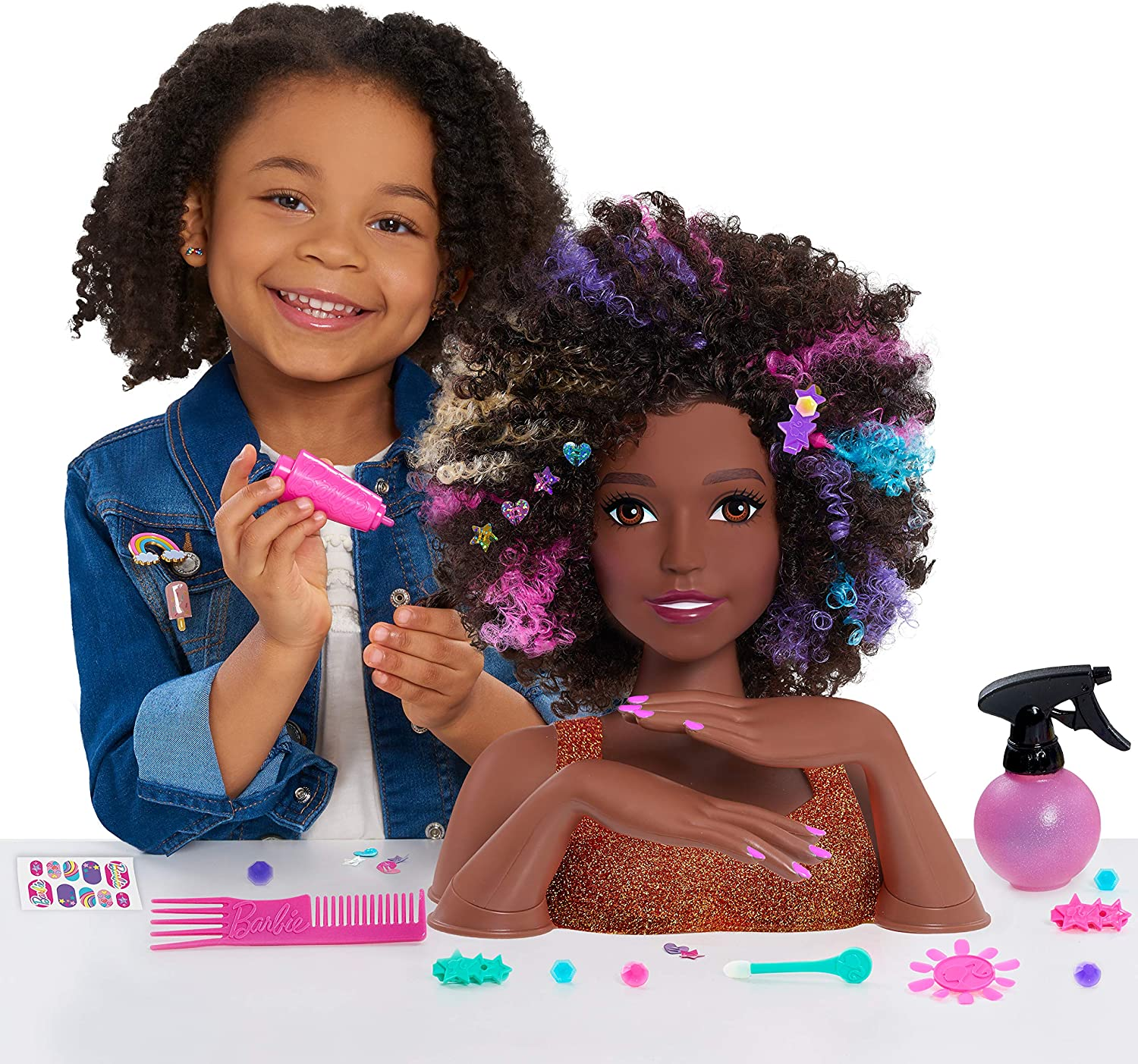 Amazon Com Barbie Rainbow Sparkle Deluxe Styling Head Curly Hair Toys Games