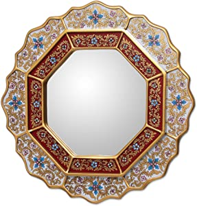 NOVICA White and Red Reverse-Painted Glass and Wood Framed Wall Mounted Round Mirror, 'White Star'