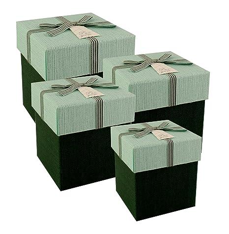 Emartbuy Juego De 4 Rígidos Cajas De Regalo Presentación De Lujo, Caja Verde Oscuro Con