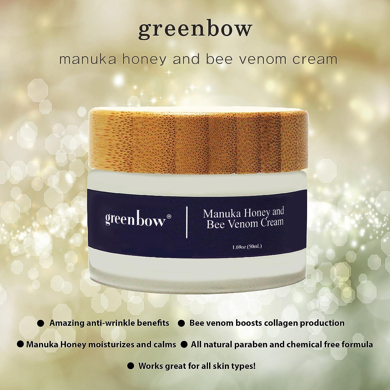 GREENBOW Bee Venom Mask Anti-Aging Cream w/Manuka Honey (15+) Organic & Natural Anti-Wrinkle Cream & Anti-Aging Cream to Help Improve Skin Elasticity, Ease