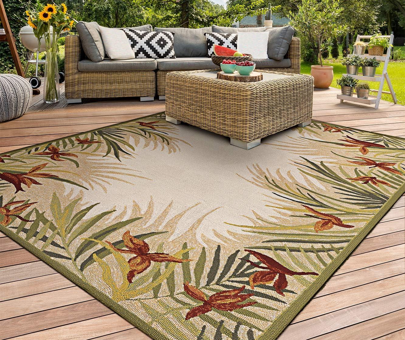 Amazon Com Couristan 2129 1021 Covington Tropic Garden Sand Multi