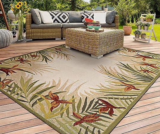 Couristan 2129/1021 Covington Tropic Garden/Sand Multi 5-Feet 6-Inch