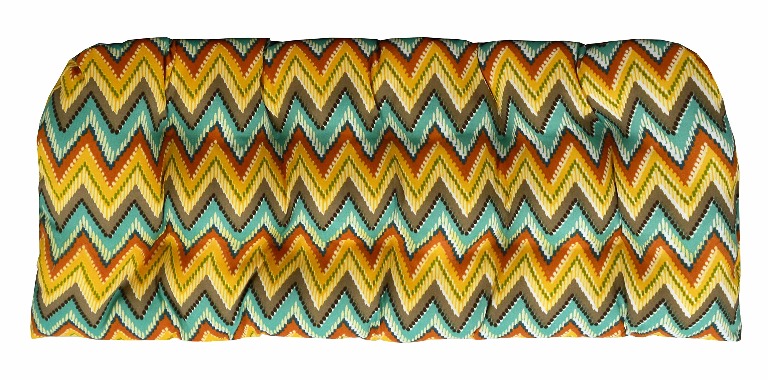 RSH Décor Indoor/Outdoor Wicker Chair Cushion Loveseat Orange Yellow Turquosie Teal Blue Abstract Chevron