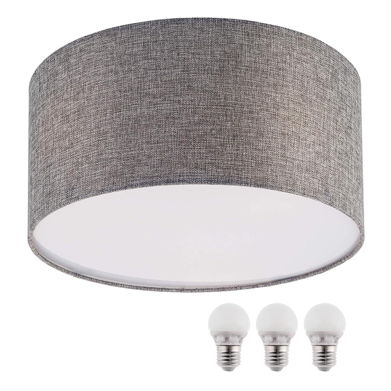 Lámpara de techo SEBSON, color blanco textil, incluye E27bombilla LED 5W blanco cálido, 40cm de diámetro, lámpara redonda, lámpara de techo [Clase de eficiencia energética A+] ZDL_E27_TW_A_LED