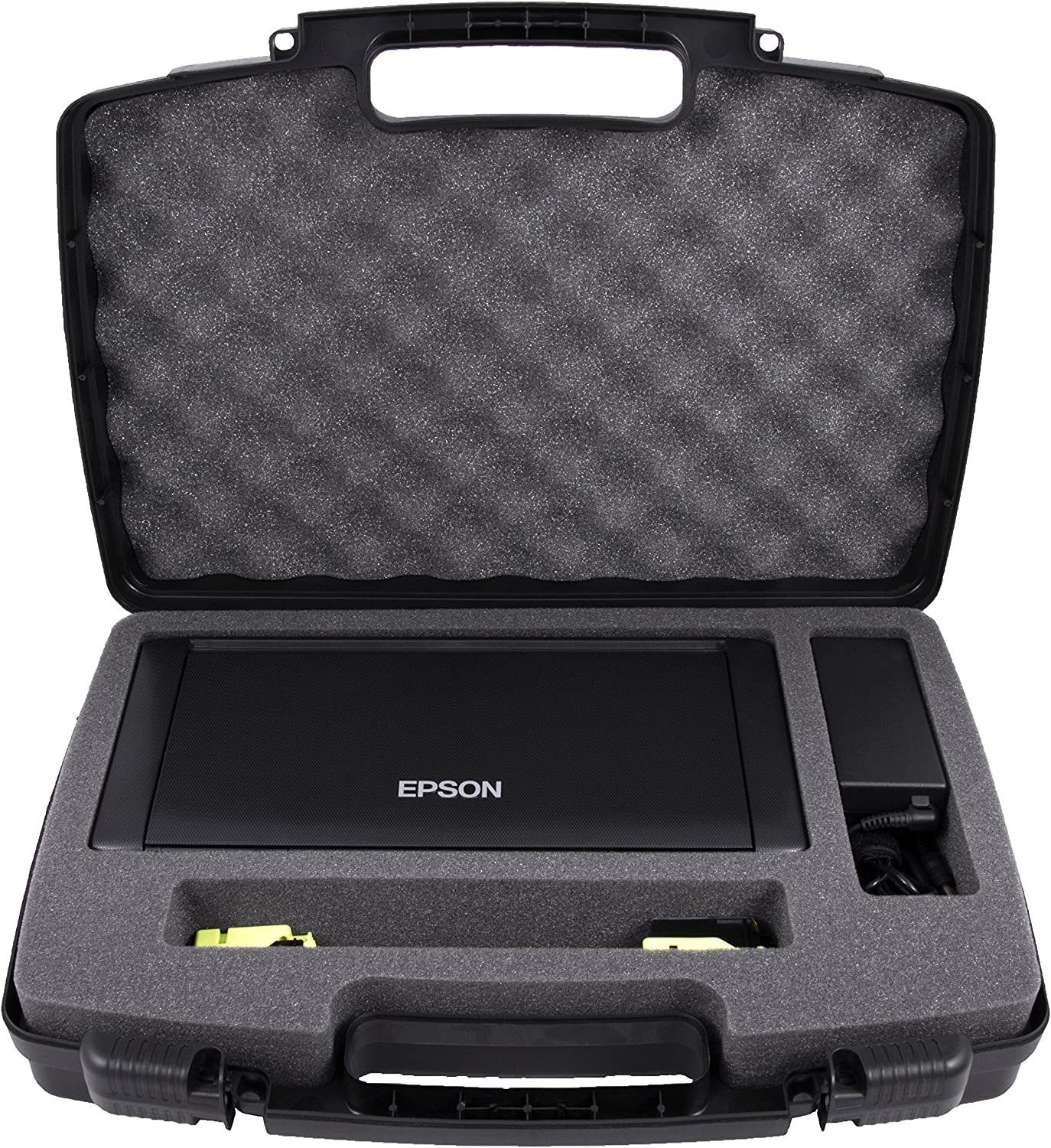 CASEMATIX Travel Case Compatible with Epson WF-100 and WF-110 Wireless Mobile Printer, Ink Cartridges, Power Adapter, Cables
