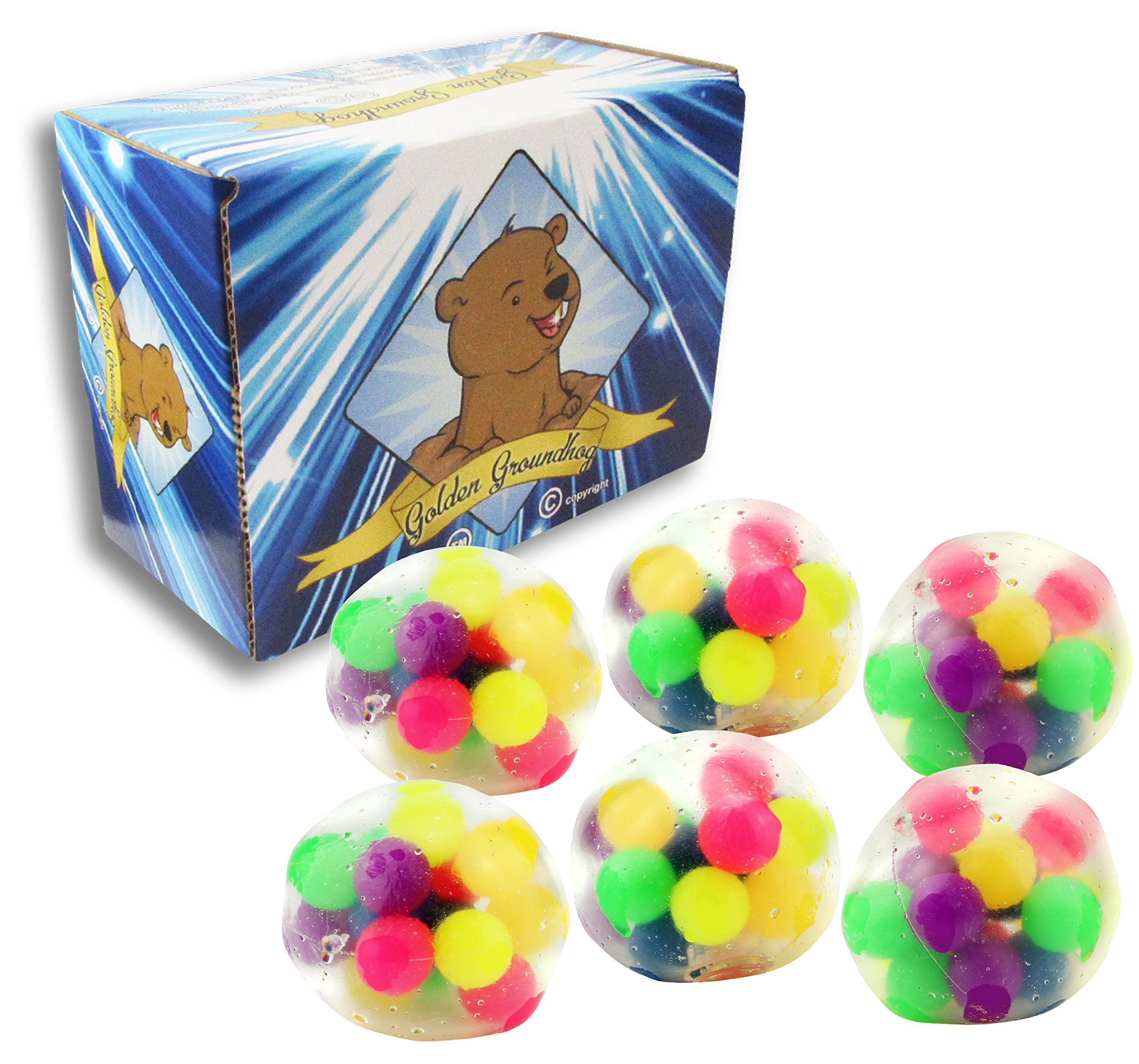 DNA Stress Ball - 6 Pack - Stress Balls for Kids - Anxiety Sensory Toys for Autistic Children Stress Relief Fidgets for Classroom, Travel & More! Squeeze Balls! Includes Golden Groundhog Storage Box!