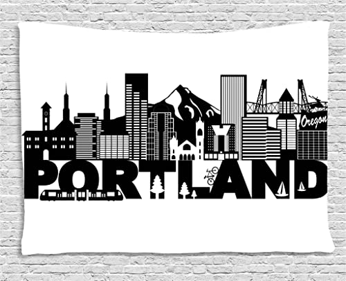 Lunarable Portland Tapestry, Famous Landmarks in Oregon State Buildings Mount Hood and Hawthorne Bridge, Wide Wall Hanging for Bedroom Living Room Dorm, 80 X 60 , Black and White