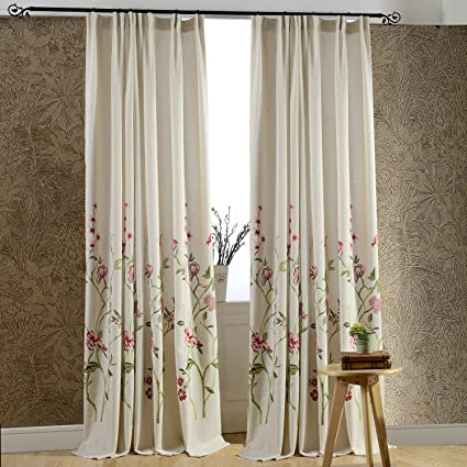 Anady Top Off White Linen Red Floral Curtains 2 Panel Flower And Green Branch Living