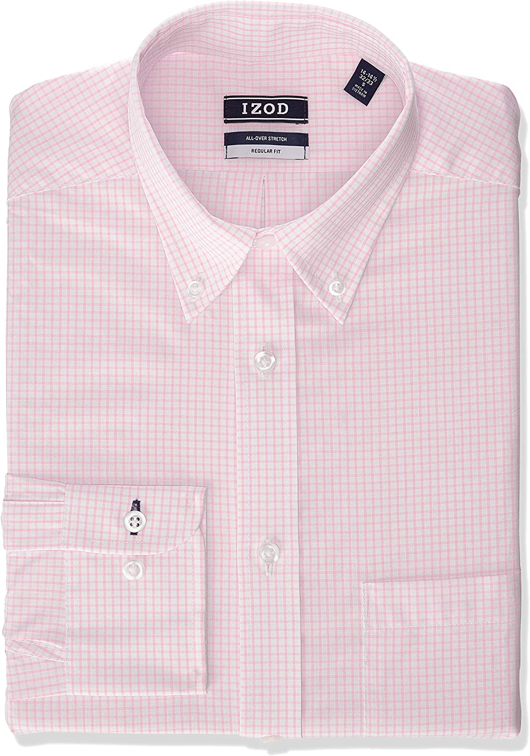 IZOD Mens Regular Fit Stretch Check Buttondown Collar Dress Shirt