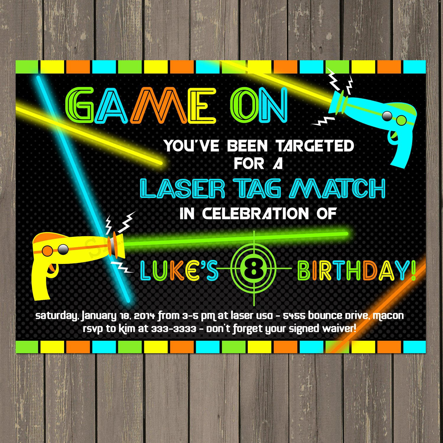 Amazon.com: Laser Tag Birthday Party Invitation with Laser Guns with ...