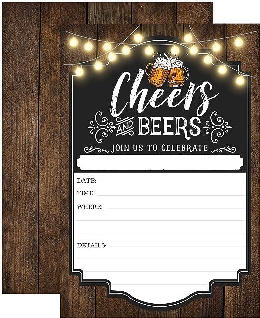 Amazon.com: Cheers y cervezas cumpleaños, invitación, o ...