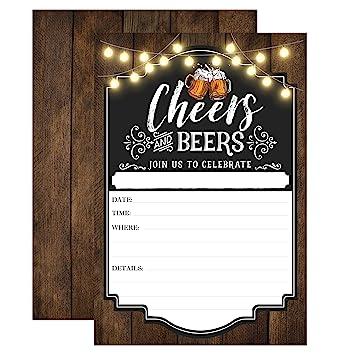 Amazon Com Cheers And Beers Birthday Invitation Adult Birthday
