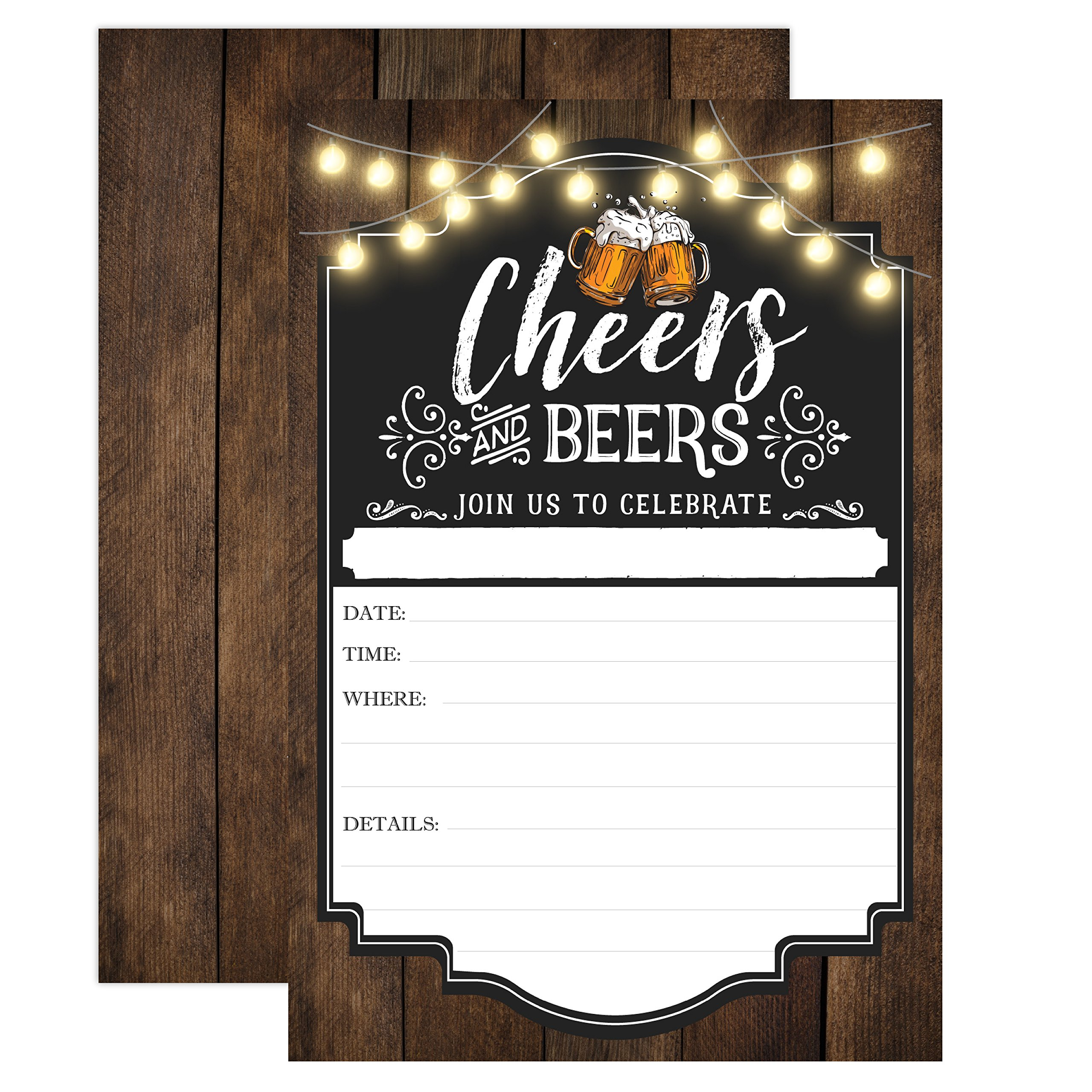 Cheers and Beers Birthday Invitation, Adult Birthday Party Invites, 30 years, 40 years, 50 years, 21 years, 20 Fill In Invitations With Envelopes by Your Main Event Prints