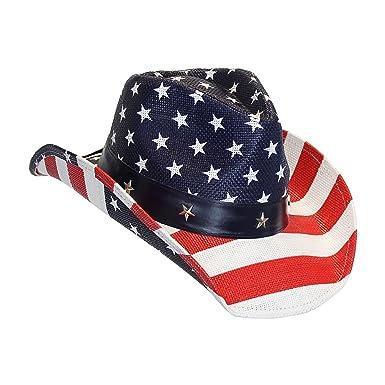 791f178e12dc0 USA American Flag Straw Cowboy Hat w  Shapeable Brim