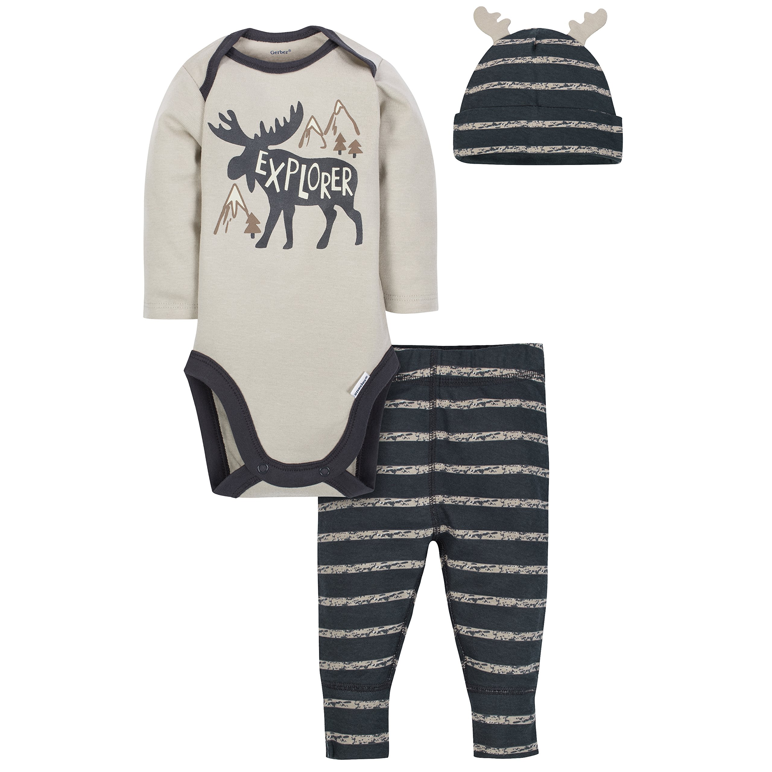 Gerber Baby Boys 3 Piece Bodysuit, Cap and Pant Set, Moose, 3-6 Months