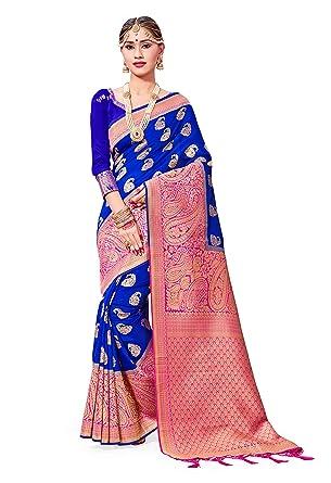 5fe5d6997 Amazon.com  Sarees for Women Banarasi Art Silk Woven Saree l Indian Wedding  Traditional Wear Sari and Blouse  Clothing